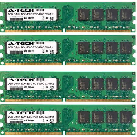 8GB Kit 4x 2GB Modules PC2-4200 533MHz NON-ECC DDR2 DIMM Desktop 240-pin Memory (M2npv Mx Memory)