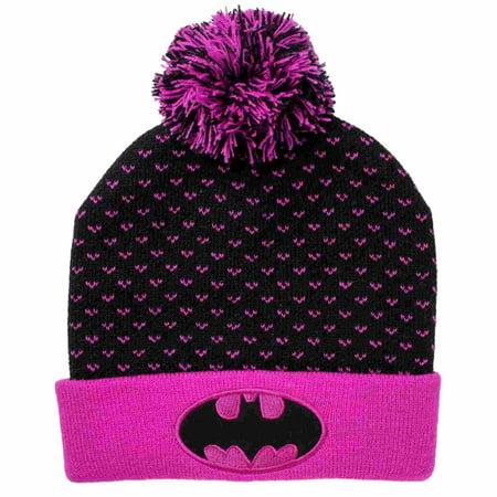 DC Comics Girls Black & Purple Batgirl Pom Pom Beanie Stocking Cap Winter Hat](Long Stocking Hat)
