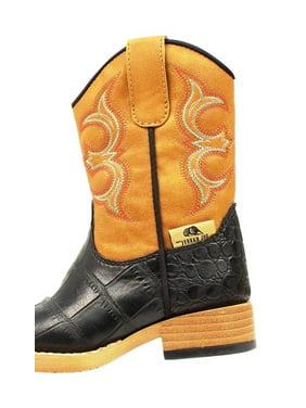 M&F Western Boots Boys Bronc Cowboy Kids Gator Print Black Tan 4445201