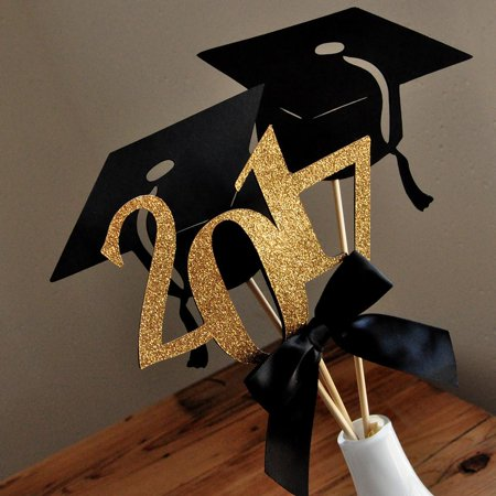 Graduation Party Decoration  Ships In 1 3 Business Days  Black And Gold Centerpiece For Graduation Party 3Ct