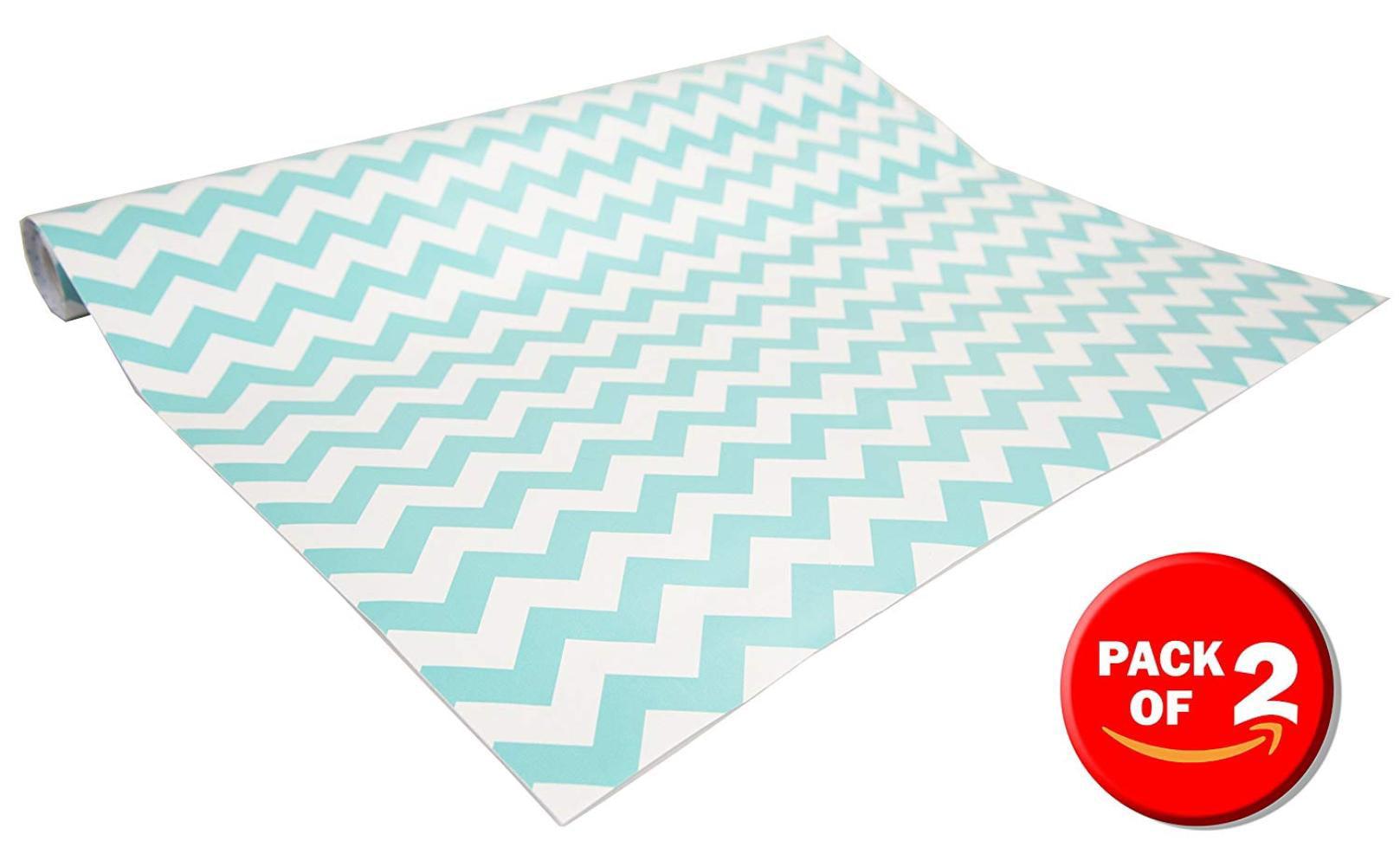 Self Adhesive Shelf Liner, 2 Pack (Chevron Blue), Drawers