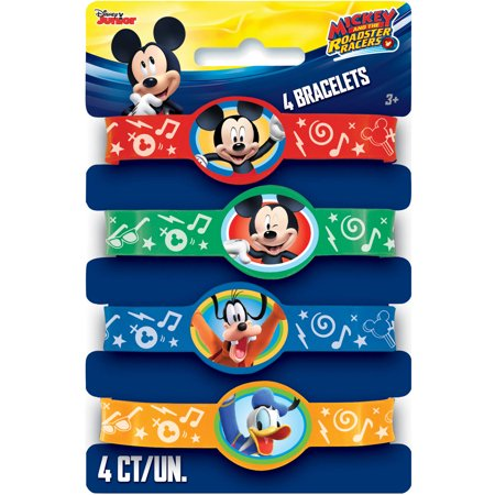 Mickey Mouse Rubber Bracelet Party Favors, Assorted, 4ct