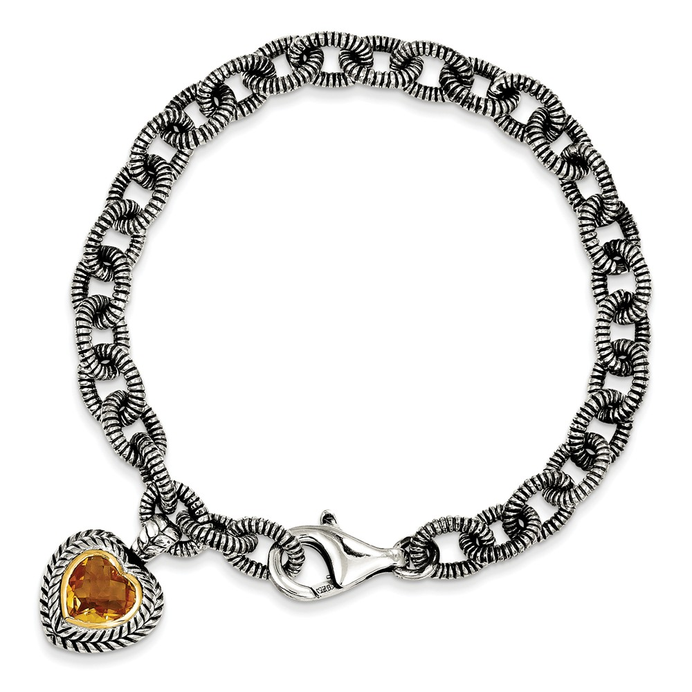 "14K Gold and 925 Sterling Silver with Citrine Heart Bracelet -7.5"" (7.5in x 5mm) by"