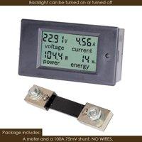 DC 6.5-100V Voltage Amperage Power Energy Meter Volt Amp Tester Gauge Monitor LCD Digital Display with Measuring Volts Current with Built-in Shunt (DC 6.5-100V 100A)
