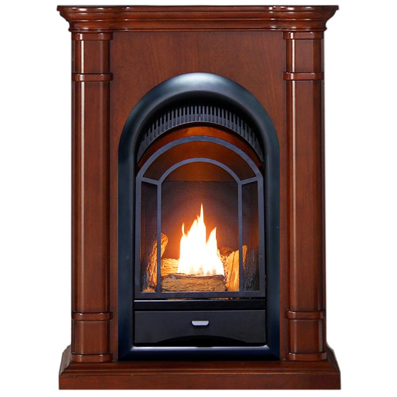 ProCom FS100T-3W Ventless Fireplace System 10K BTU Duel Fuel Thermostat Insert and Walnut Mantel by