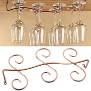 Buytra Under Cabinet Wine Glass Rack Stemware Holder for Home Bar, Holds up to 6 Glasses, Copper Color