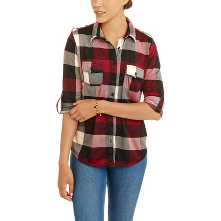 French Laundry Women's Soft Knit Plaid Button Up With Roll Tab Sleeves