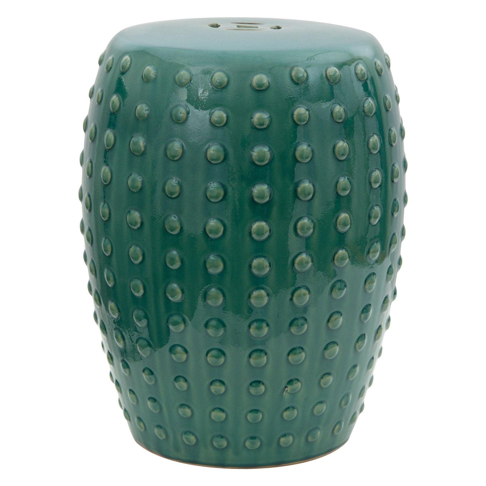 Oriental Furniture Blue-Green Porcelain 18 in. Garden Stool