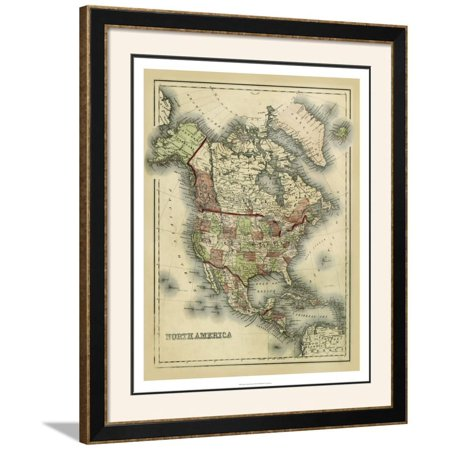 Antique Map of North America Framed Art Print Wall Art  By Alvin Johnson - 32.5x38.5
