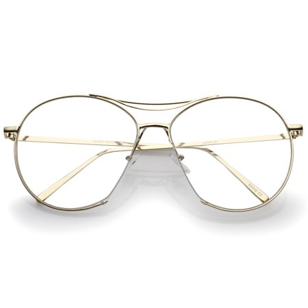 Oversize Semi-Rimless Brow Bar Round Clear Flat Lens Aviator Eyeglasses 59mm (Gold / (59mm Semi Rimless Aviator Sunglasses)