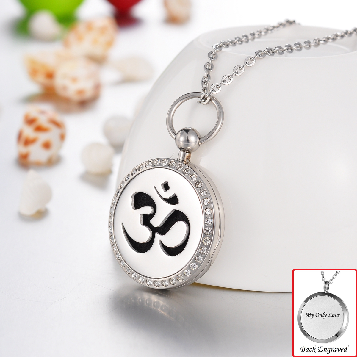 Engraved Personalized Crystal Ohm Om Aum Essential Oil Di...