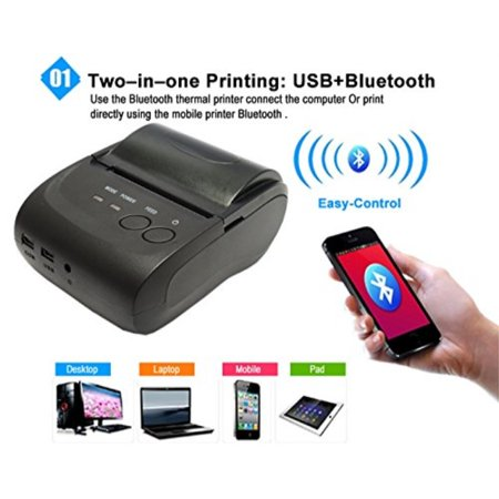 Issyzone Mini POS Thermal Receipt Printer USB Bluetooth Printer for Android  IOS and Windows