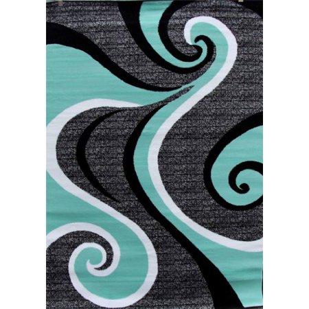 Persian Rugs 0327 Sea Green 6 Foot Round Swirls Modern