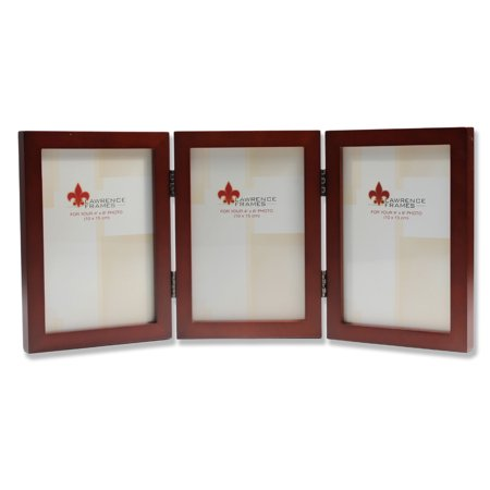 4x6 Hinged Triple Walnut Wood Picture Frame Gallery Collection