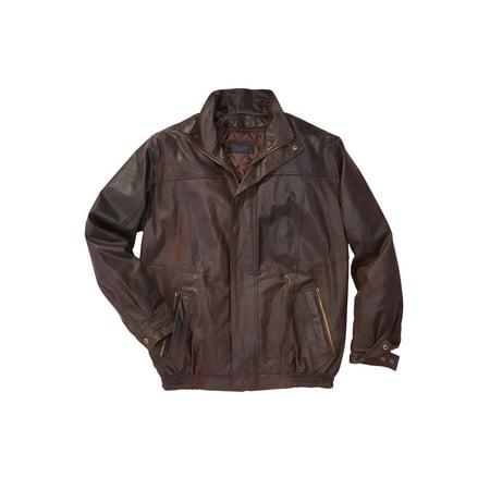 Kingsize Men's Big & Tall Leather Bomber Jacket (Mens Brown Bomber)