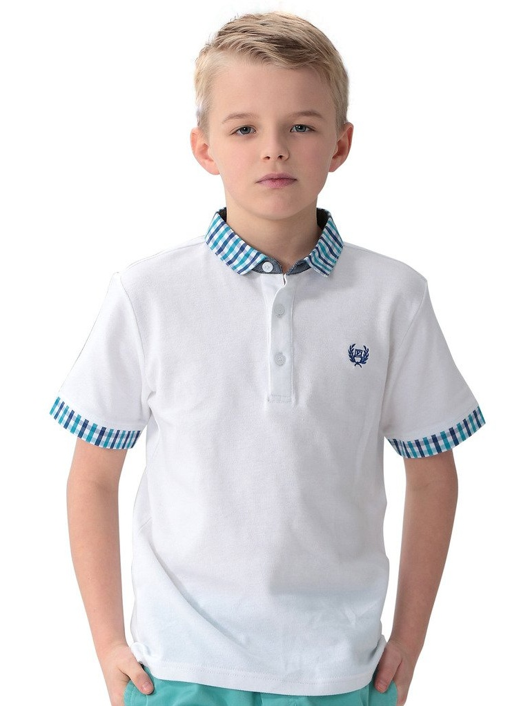 Leo&Lily Boys Casual Polo Shirts Blue Gingham Collars