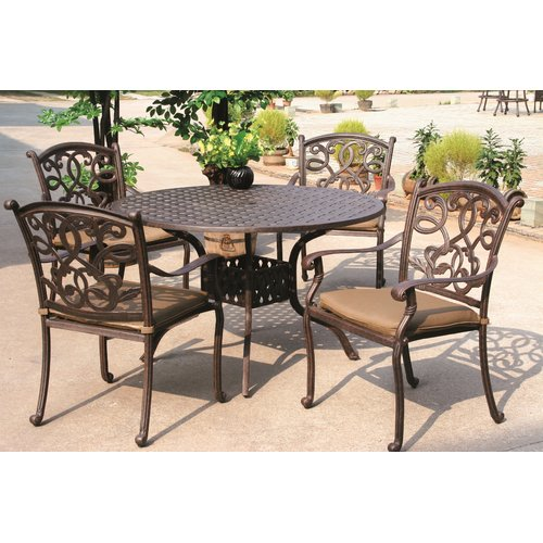 Fleur De Lis Living Calhoun Traditional 5 Piece Dining Set with Cushions