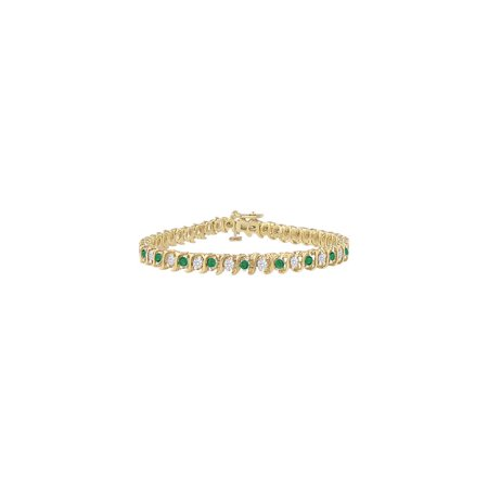 Created Emerald and Cubic Zirconia Tennis Bracelet with 5.00 CT TGW on Yellow Gold Vermeil - image 2 de 2