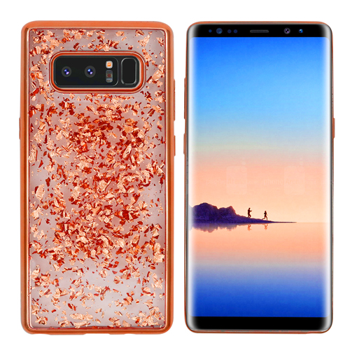 Rose Gold Chrome Edge Glitter Flakes Case For Samsung Galaxy Note 8 Phone