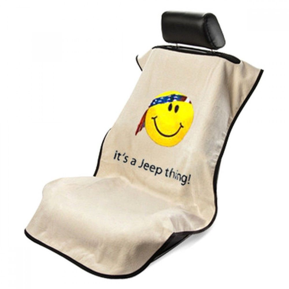 Seat Armour - TAN Seat Protector Towel Cover With It's a Jeep thing ! Smiley Face Logo Grille Logo SA100JEPSFT
