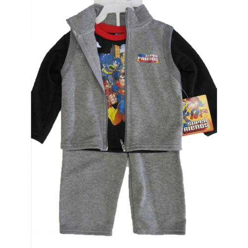 Marvels Baby Boys Grey Black Justice League Vest Shirt 3 Pc Pants Set 24M