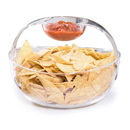 dorn Crystal Clear Plastic Chips n' Dips / Salad Bowl with Detachable Arch Style Dip Cup