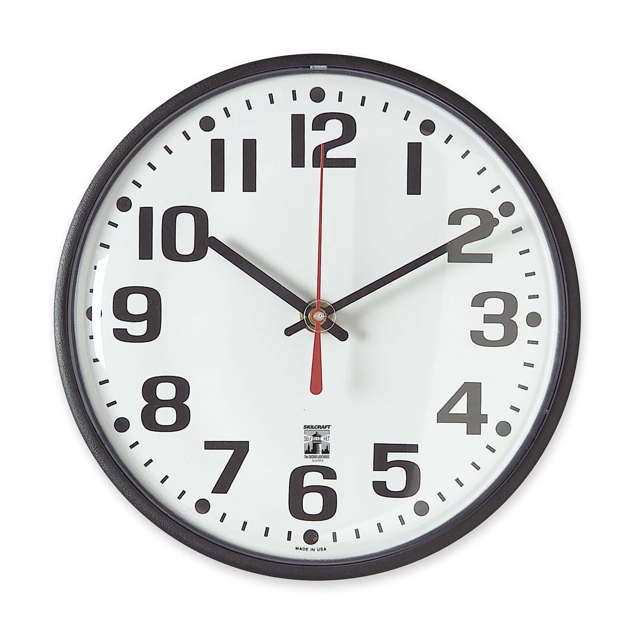 Skilcraft Skilcraft Black Body Selfset Wall Clock - Analog - Quartz (NSN5573153)