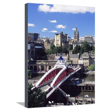 Swing Bridge and Castle, Newcastle (Newcastle-Upon-Tyne), Tyne and Wear, England, United Kingdom Stretched Canvas Print Wall Art By James Emmerson