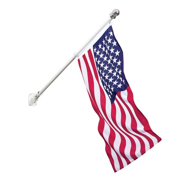 Collections Etc Tangle Free American Flag And Rotating Flag Pole Kit With Adjustable Angle Walmart Com Walmart Com