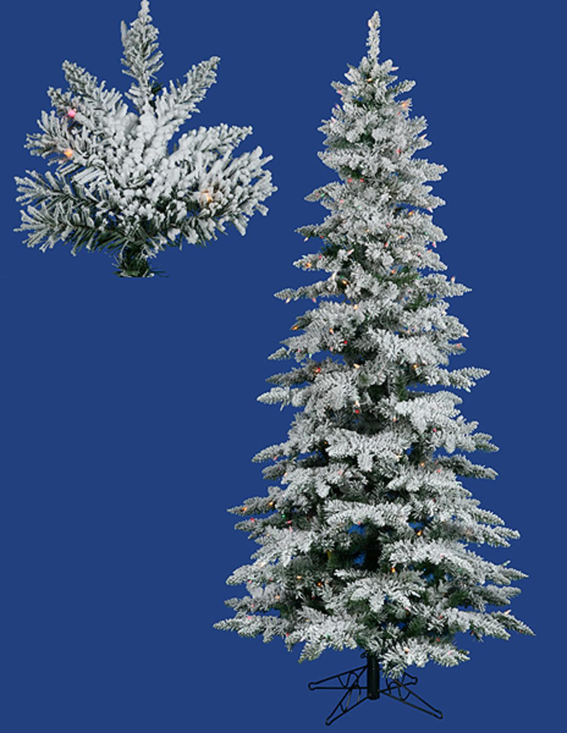 7.5' Pre-Lit Flocked Layered Utica Fir Slim Christmas Tree - Multi ...