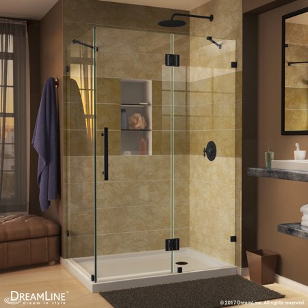 DreamLine Quatra Lux 34 5/16 in. by 34 5/16 in. Frameless Hinged Shower Enclosure, Clear 3/8 in. Glass Shower, Satin Black