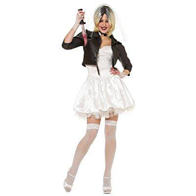 costume culture women's licensed bride of chucky costume, white, large