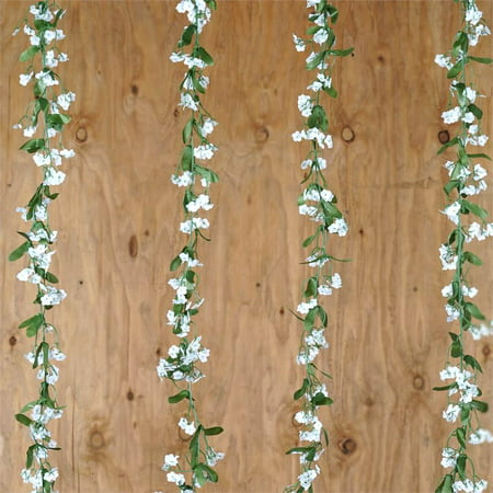 BalsaCircle White 6 Baby Breath Silk Greenery Garlands - 36 feet long Filler Wedding Arch Aisle Party Home Decorations](Party City Garland)