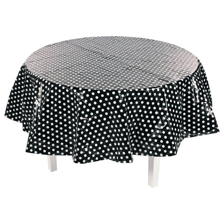 Fun Express - Black Polka Dot Round Plastic Tablecover - Party Supplies - Table Covers - Print Table Covers - 1 Piece](Black Polka Dot Table Cover)