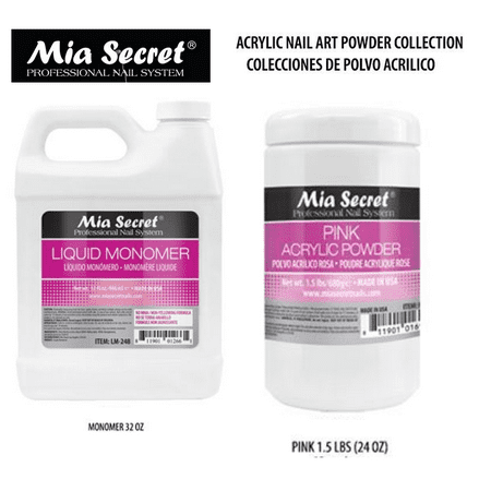 32 oz Liquid Monomer & 24 oz PINK Acrylic Powder Set Mia Secret MADE IN USA+ FREE Temporary Body Tattoo