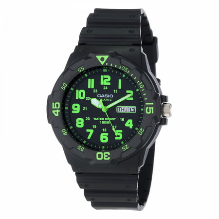 Men's Sport Analog Green-Accented Dive Watch