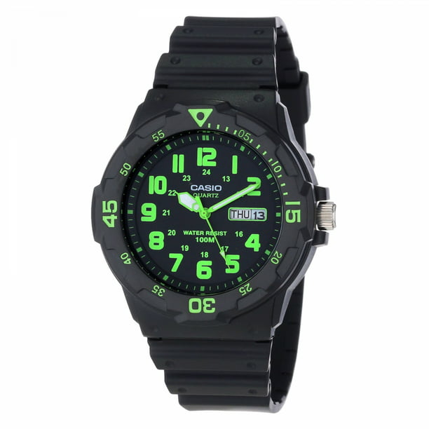 Casio Men's Dive Style Watch, Black/Green Accents MRW200H-3BV