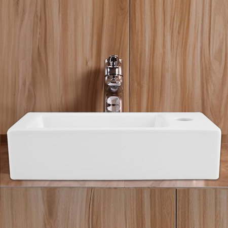 OTVIAP Modern Rectangular Shape Bathroom Sink High-grade Wall Mounted White Ceramic Hand Wash Basin,Bathroom Sink, Wash Basin Elkay Hand Wash Sink