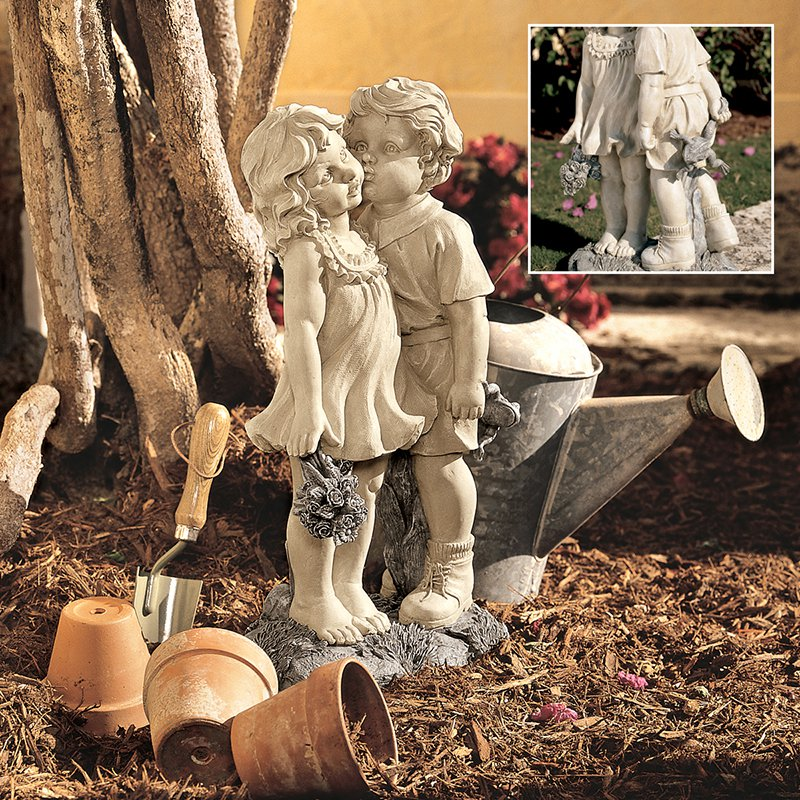 Design Toscano Young Sweethearts Kissing Children Garden Statue by Design Toscano