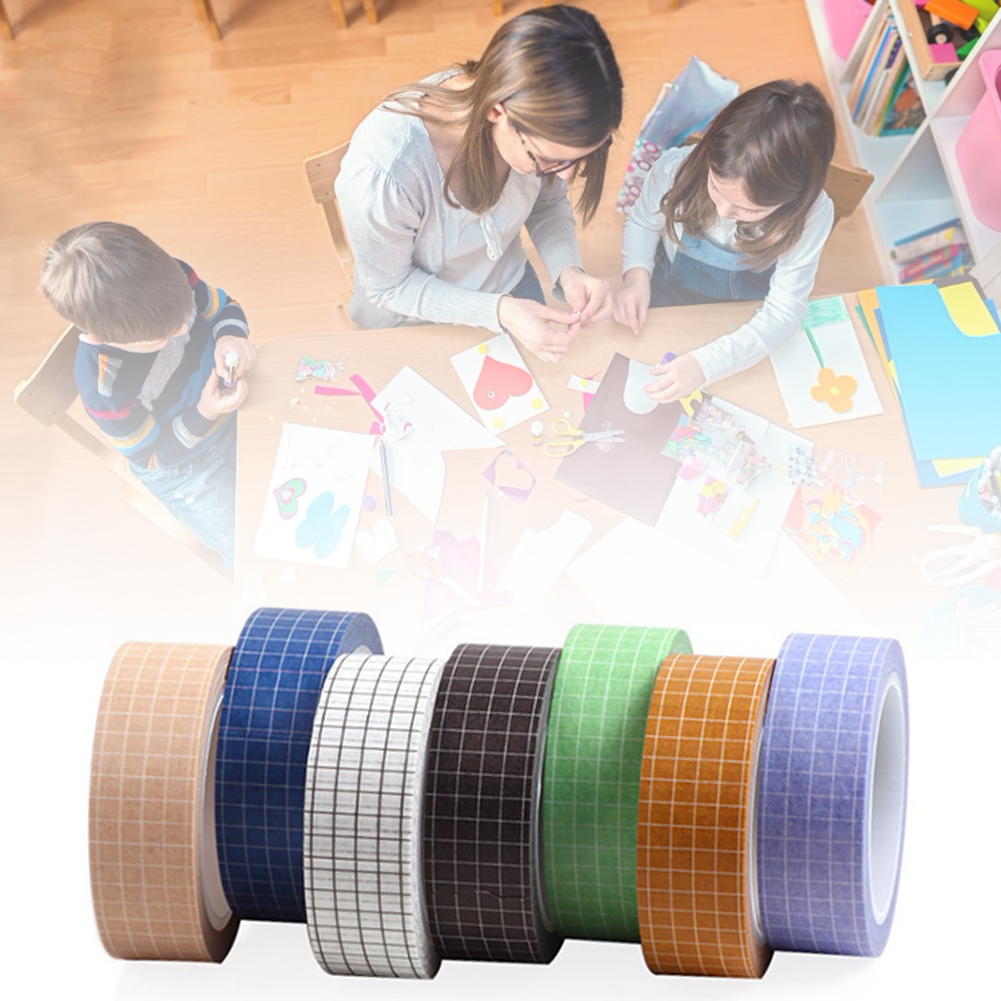 Olorful Writable Paper Adhesive Masking Tapes Sticky Paper Tape for DIY Scrapbooking Decoration Labels Arts Book Designs Grid Washi Tape Set 33ft 7 Rolls