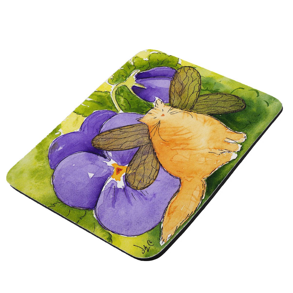 Ginger Tabby Maine Coon Kitty Fairy with Purple Pansies Cat Art by Denise Every - KuzmarK Mousepad / Hot Pad / Trivet