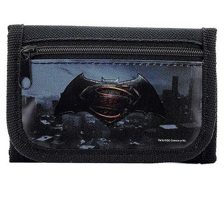 Batman vs Superman Dawn Justice Authentic Licensed Black Trifold Wallet (Toupee For Black Man)