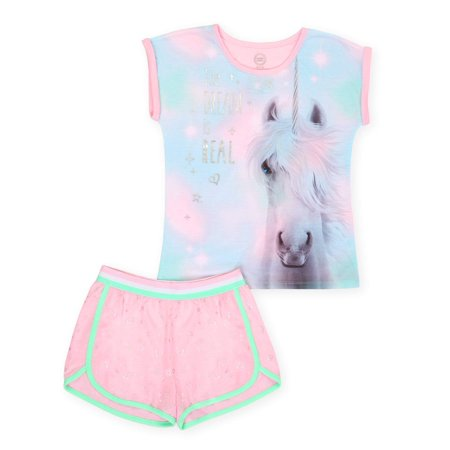 Girls' Wonder Nation 2 Piece Pajama Short Set (Little Girl & Big Girl) - Girl Clothes 10-12