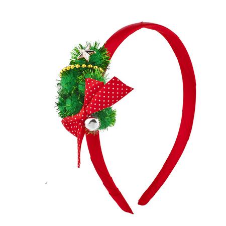 Lux Accessories Red Green Festive Christmas XmasGarland Bow Star Headband (Christmas Star Headband)