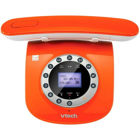Vtech Vtls6195 13 Retro Design Phone With Rotary Keypad Orange Com
