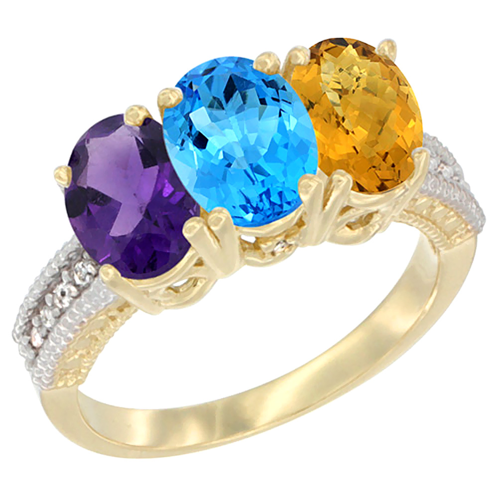 10K Yellow Gold Diamond Natural Amethyst, Swiss Blue Topaz & Whisky Quartz Ring Oval 3-Stone 7x5 mm,sizes 5-10 by WorldJewels
