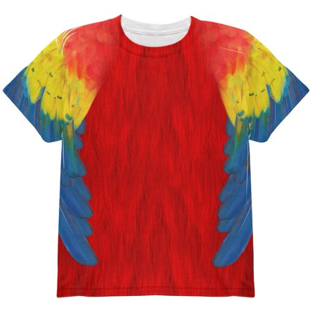 Halloween Scarlet Macaw Parrot Feathers Costume All Over Youth T - Macaw Costume
