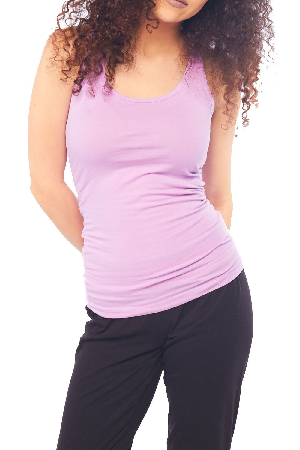 Womens Beta Racer Back Slim Fitted Active Deep Round Neck Tank Top RT1777-S-Lavender