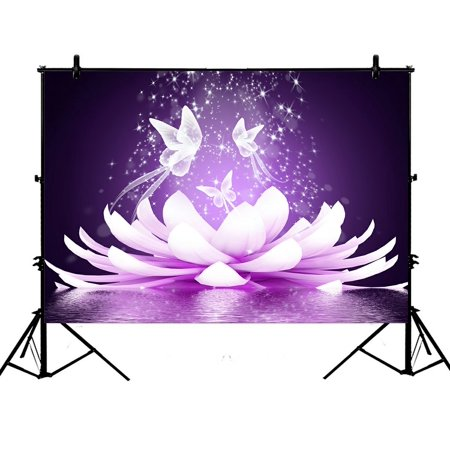 PHFZK 7x5ft Butterfly Backdrops, Beautiful Lotus Flower Photography Backdrops Polyester Photo Background Studio