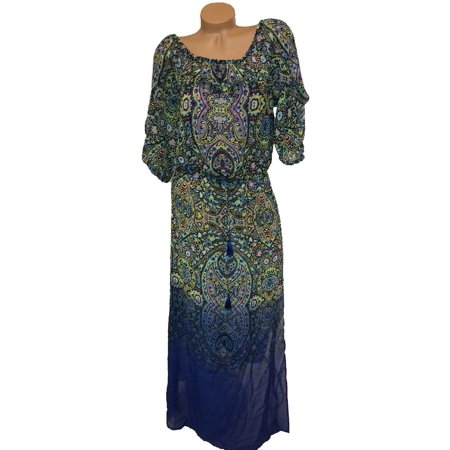 Victoria's Secret Swimwear Floral Paisley Maxi Dress Cover-Up Green/Blue